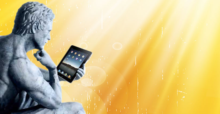 thinker with ipad